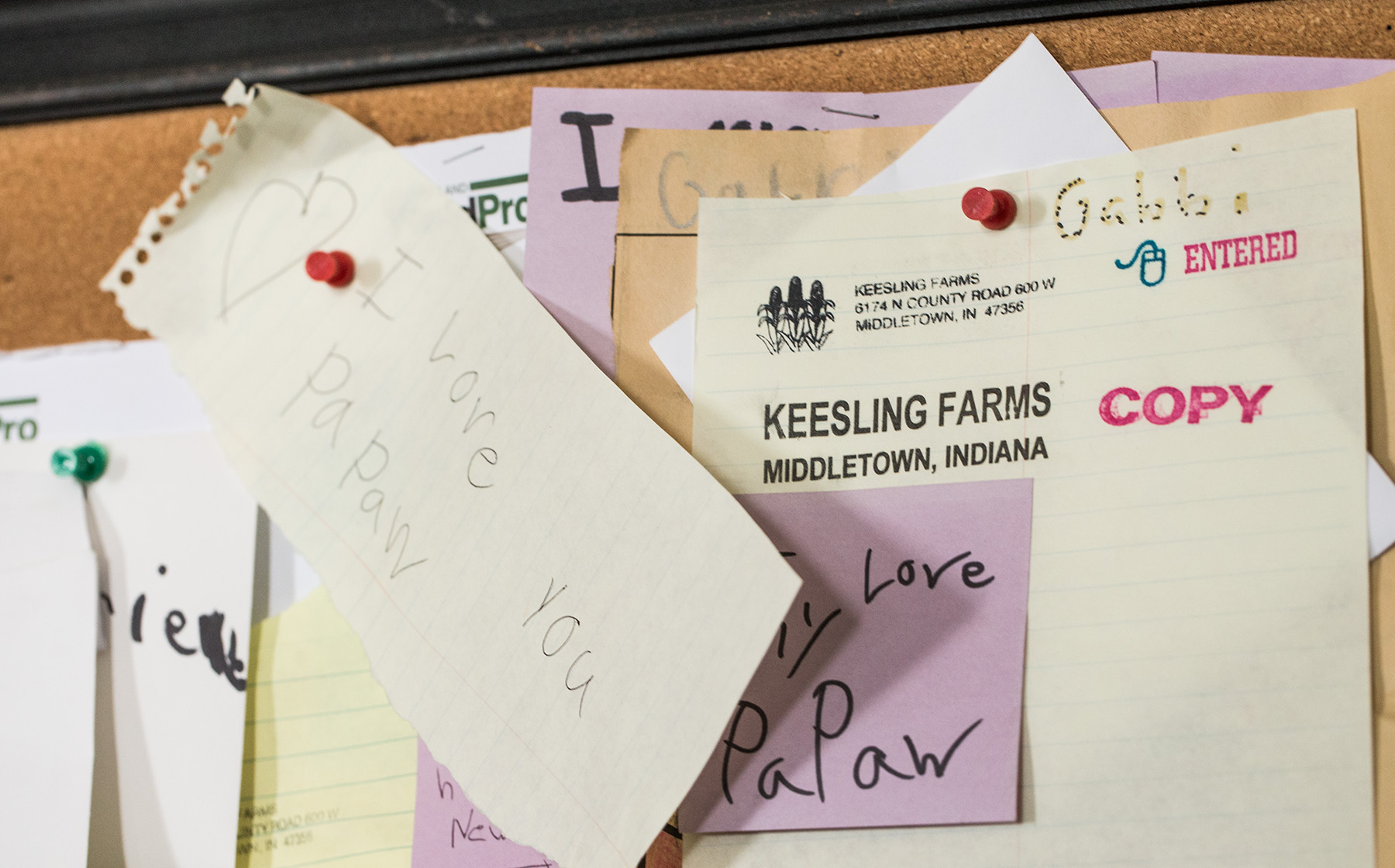 Image of Keesling Farms Growers for Red Gold Tomatoes handwritten note from Keesling grandchild