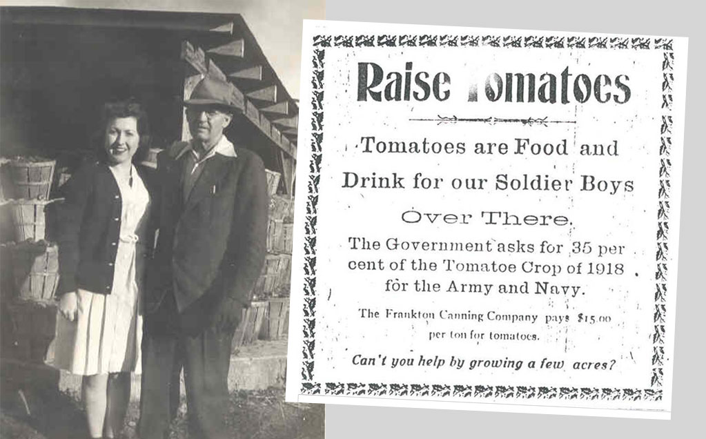 Black and white photo of Fran and Grover Hutcherson and ad for calling for tomato growers to feed the troops in WW2