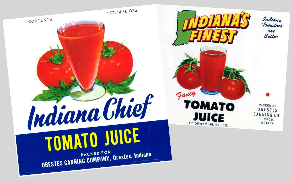 Two retro labels of Red Gold Indiana Chief Tomato Juice and Indiana's Finest Tomato Juice