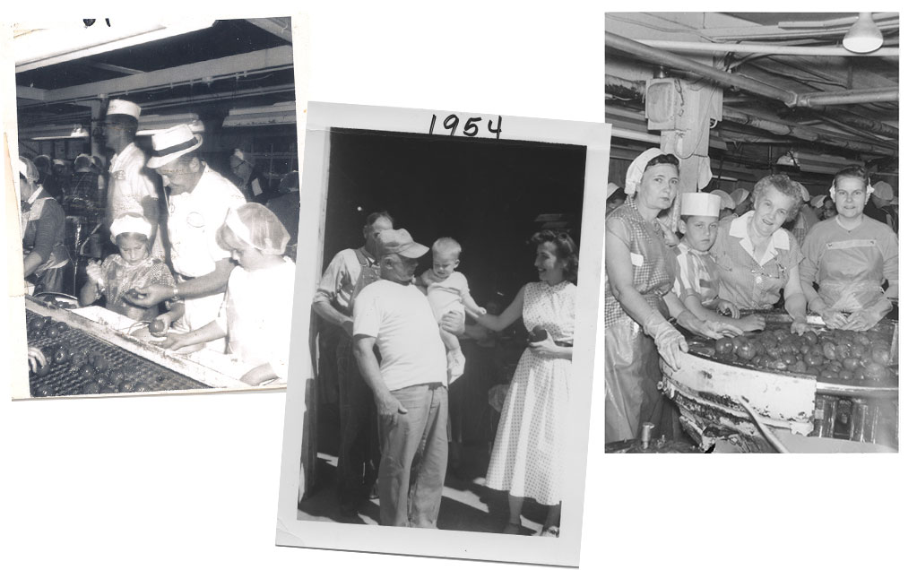 Black and white photos from Red Gold Factory of Tina, Gary and Brian Reichart with workers
