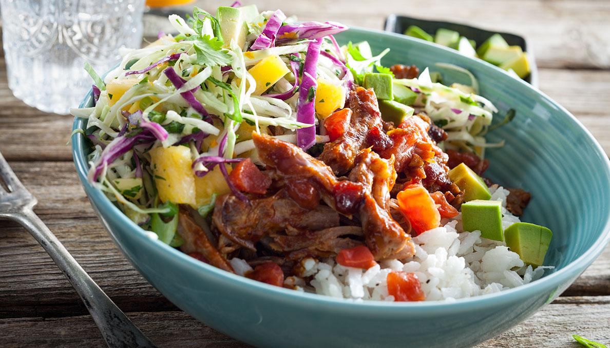 Carribbean Pork Bowls Close