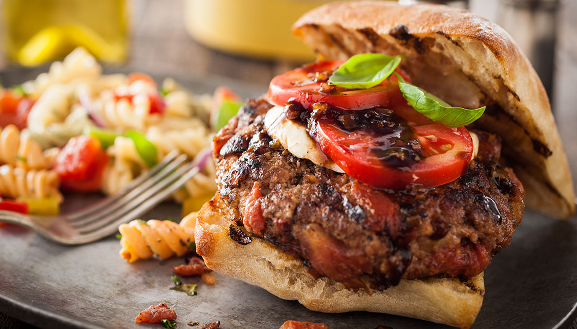 Red white basil burger