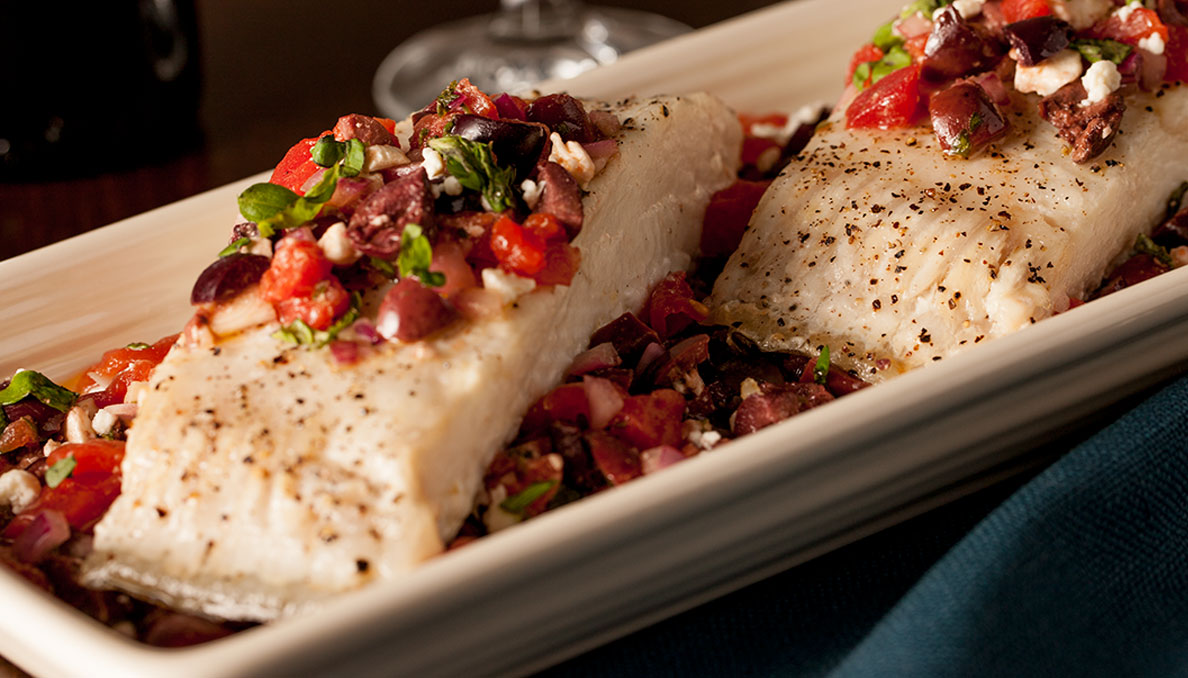 roasted halibut with greek relish
