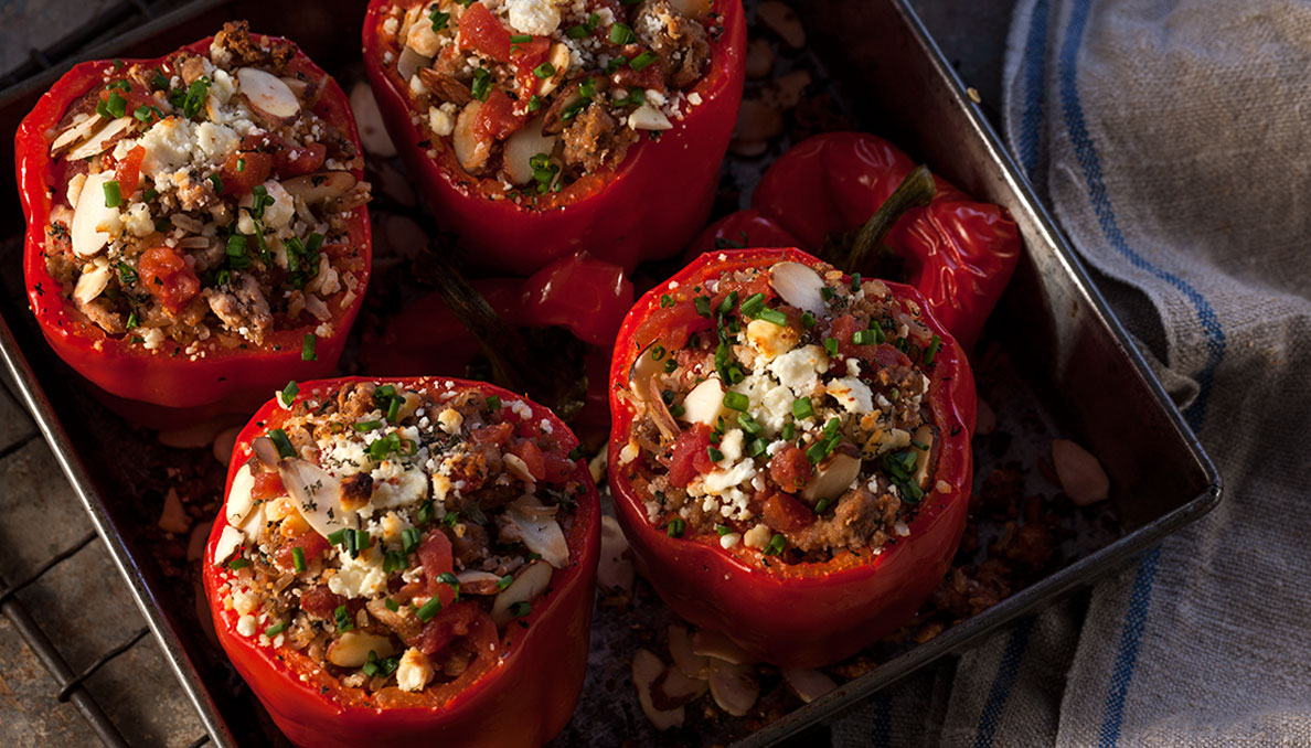 Savory turkey stuffed bell peppers