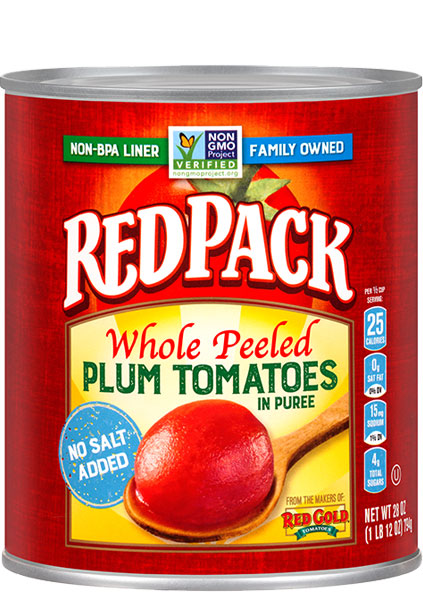 Image of No Salt Added Whole Peeled Plum Tomatoes 28 oz