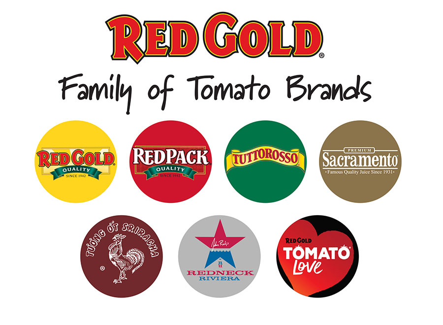 Image of Red Gold Inc Family of Brands logos includes Red Gold Redpack Tuttorosso Sacramento Sriracha