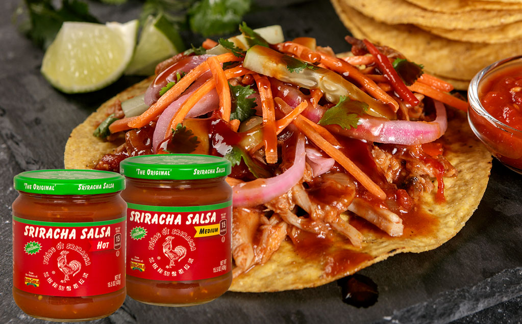 Image of red gold sriracha salsa and asian pork tacos