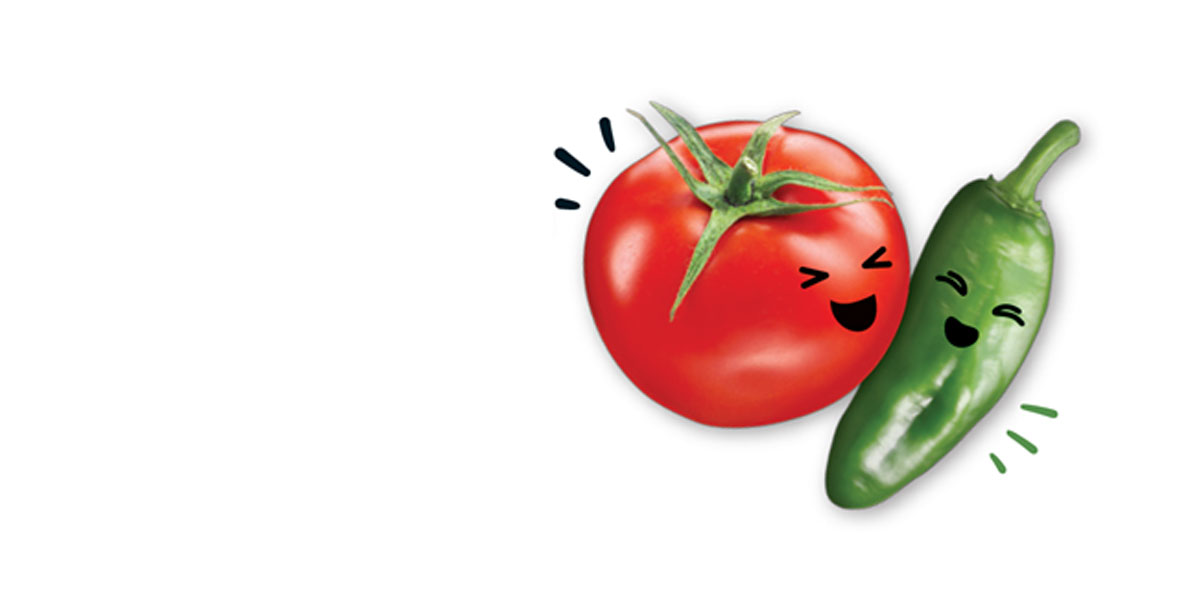 Image of tomato and pepper characters from Red Gold Tomato Love canned tomato label