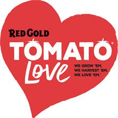 Red Gold Tomato Love Text Logo