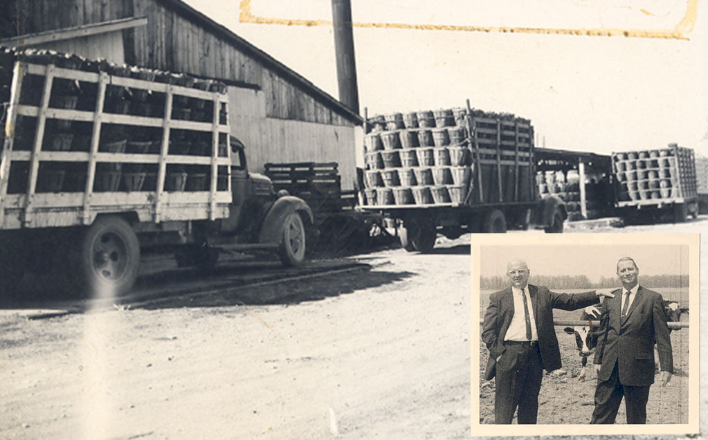 1950s black and white photo of trucks loaded with tomato hampers and inset image of Ernie Reichart