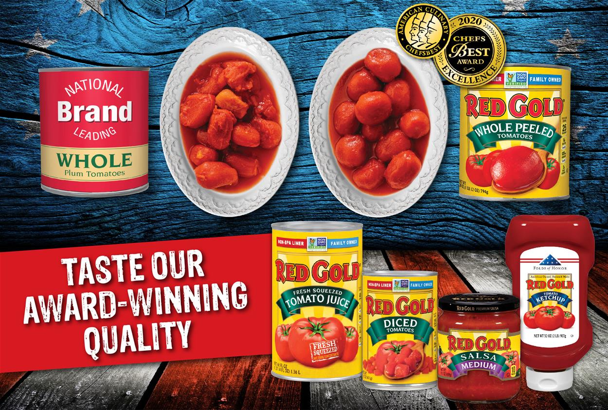 Image of Red Gold tomatoes award winning quality comparison showing two bowls of tomatoes and Red Gold products