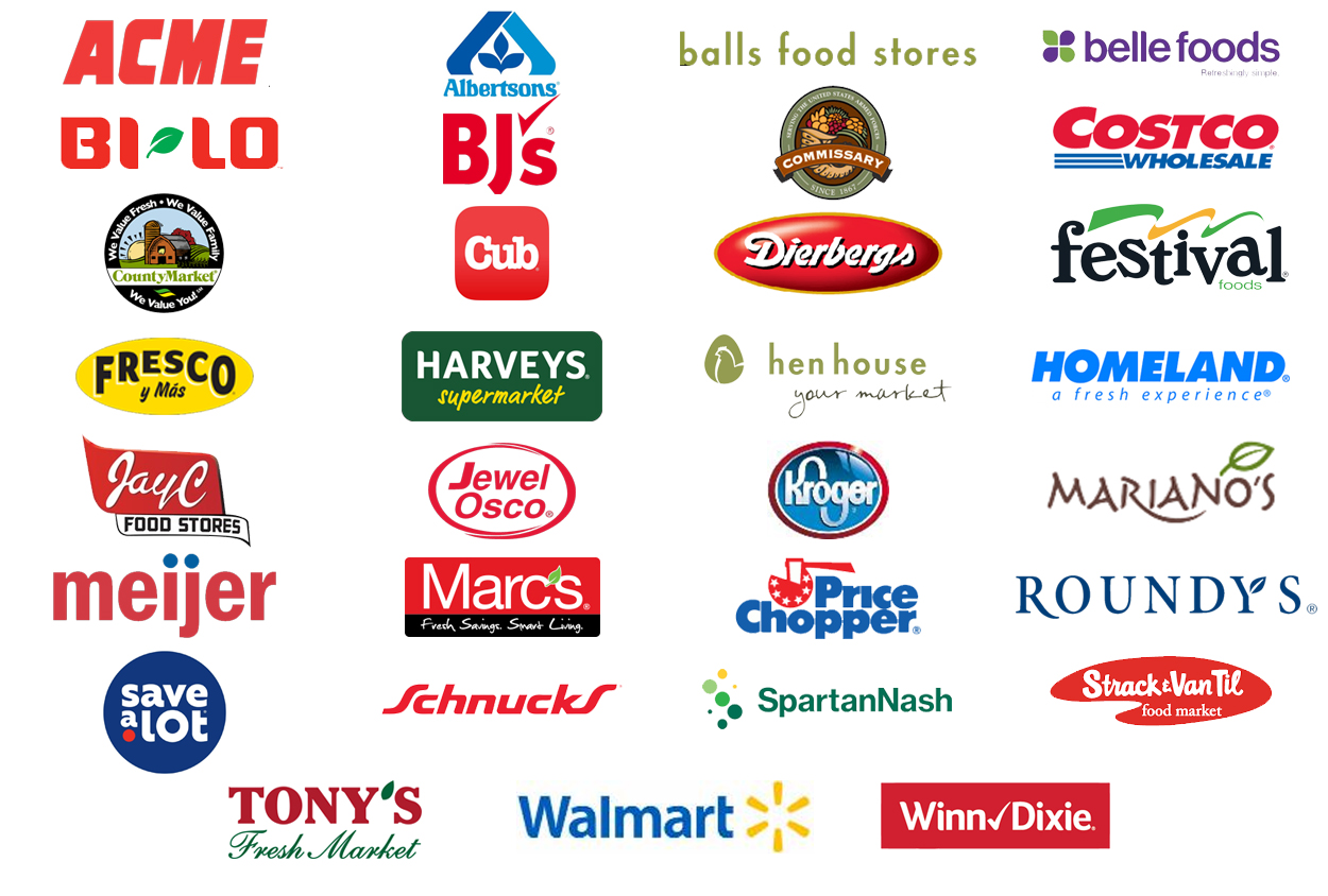 Image of various grocery retailer logos that carry red gold folds of honor ketchup