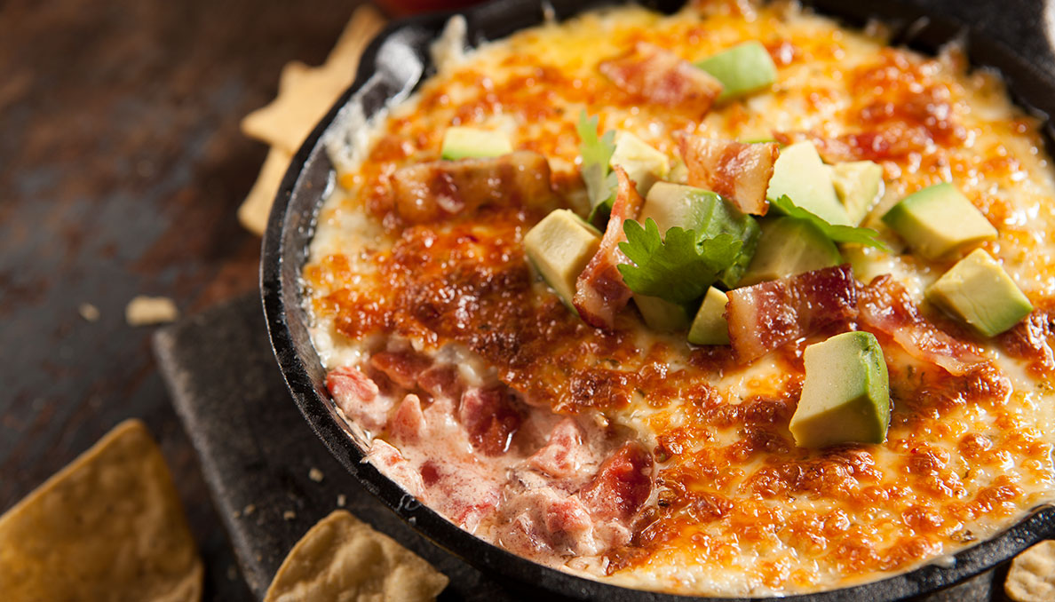 Bacon Tomato Queso Skillet and Diced Avocado