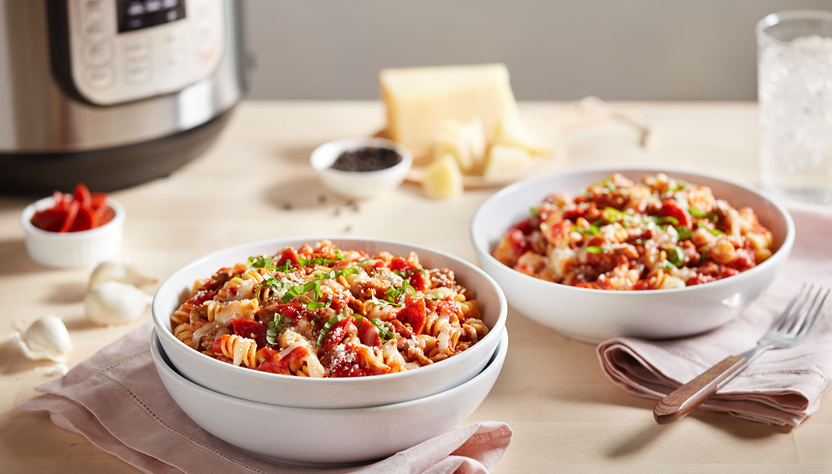 Image of Instant Pot Pizza Pasta in white bowls
