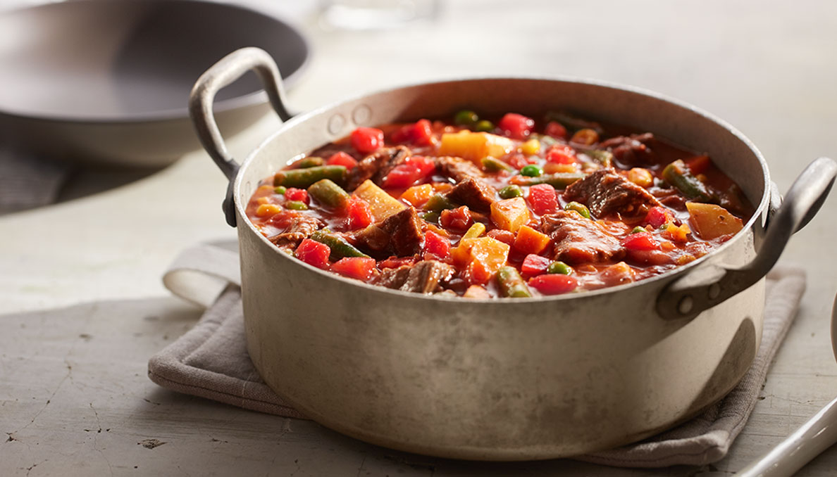 Image of Homestyle Beef Stew in metal dutch oven
