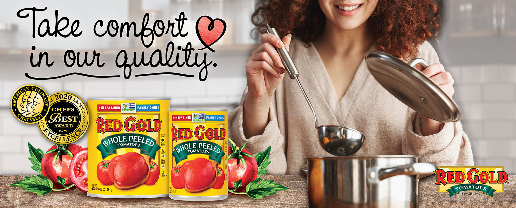 Image of Red Gold quality tomatoes with woman behind soup pot and holding a ladle