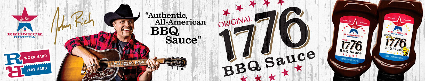 Image of John Rich playing the guitar along with two bottlles of 1776 BBQ Sauce promoting this new barbecue sauce