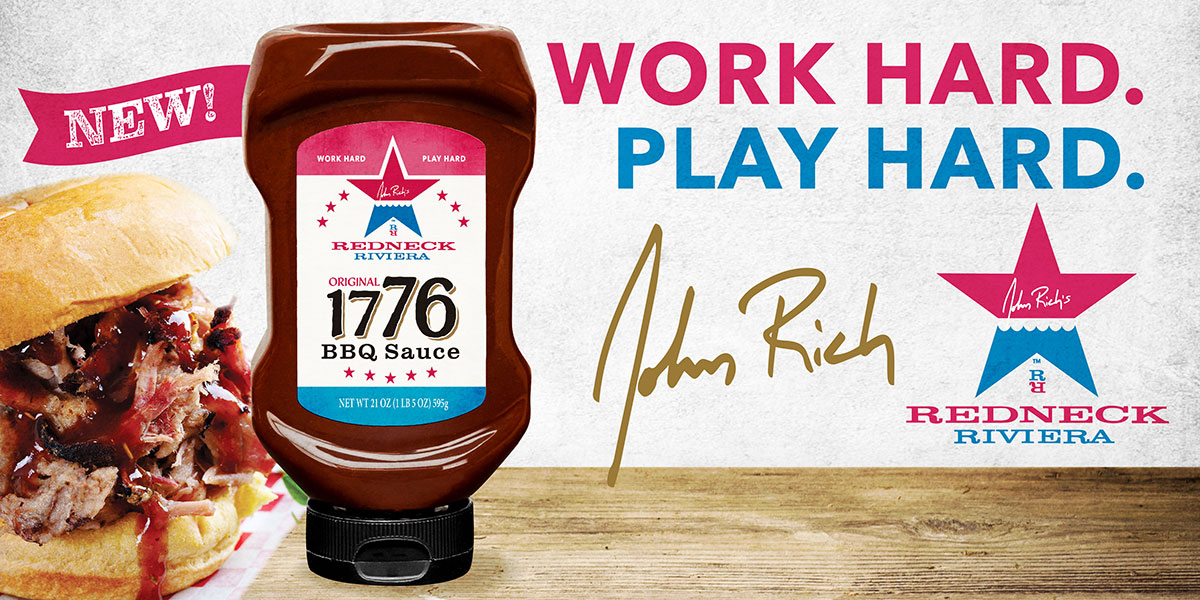 Image of 1776 Original BBQ Sauce by John Rich and Red Gold Tomatoes with a pulled pork sandwich and Redneck Riviera logo