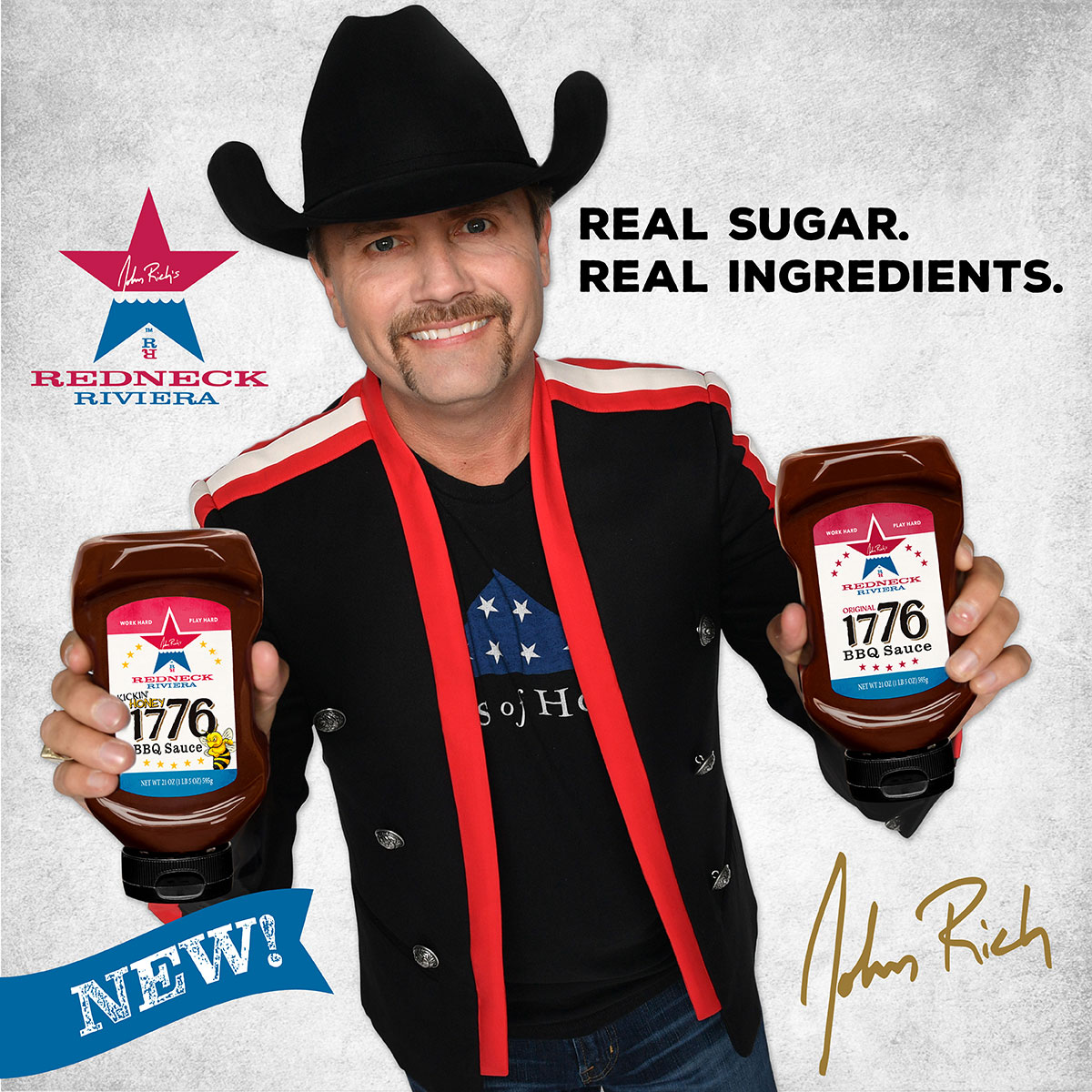 Image of John Rich holding 1776 BBQ Sauce made by Red Gold Tomatoes with JR's autograph and Redneck Riviera logo made with real sugar
