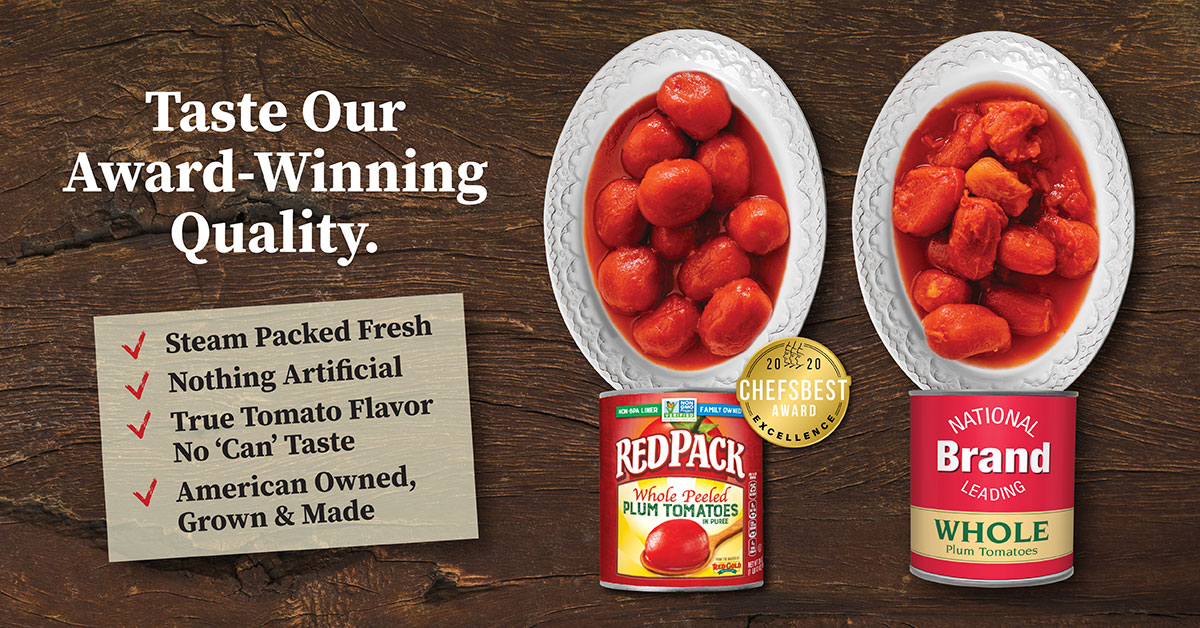 Image of Redpack Whole Peeled tomatoes in bowl showing award winning quality compared to national brand