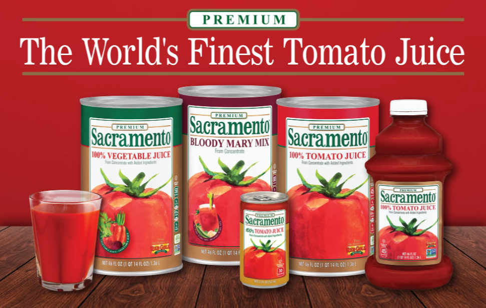Line up of Sacramento Tomato Juice products Toamto Juice Bloody Mary Mix and Vegetable Juice