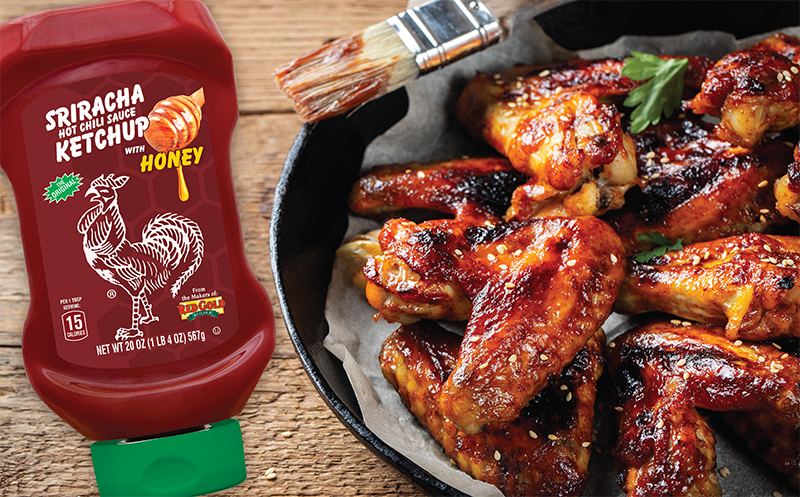 Image of red gold honey sriracha ketchup and chicken wings