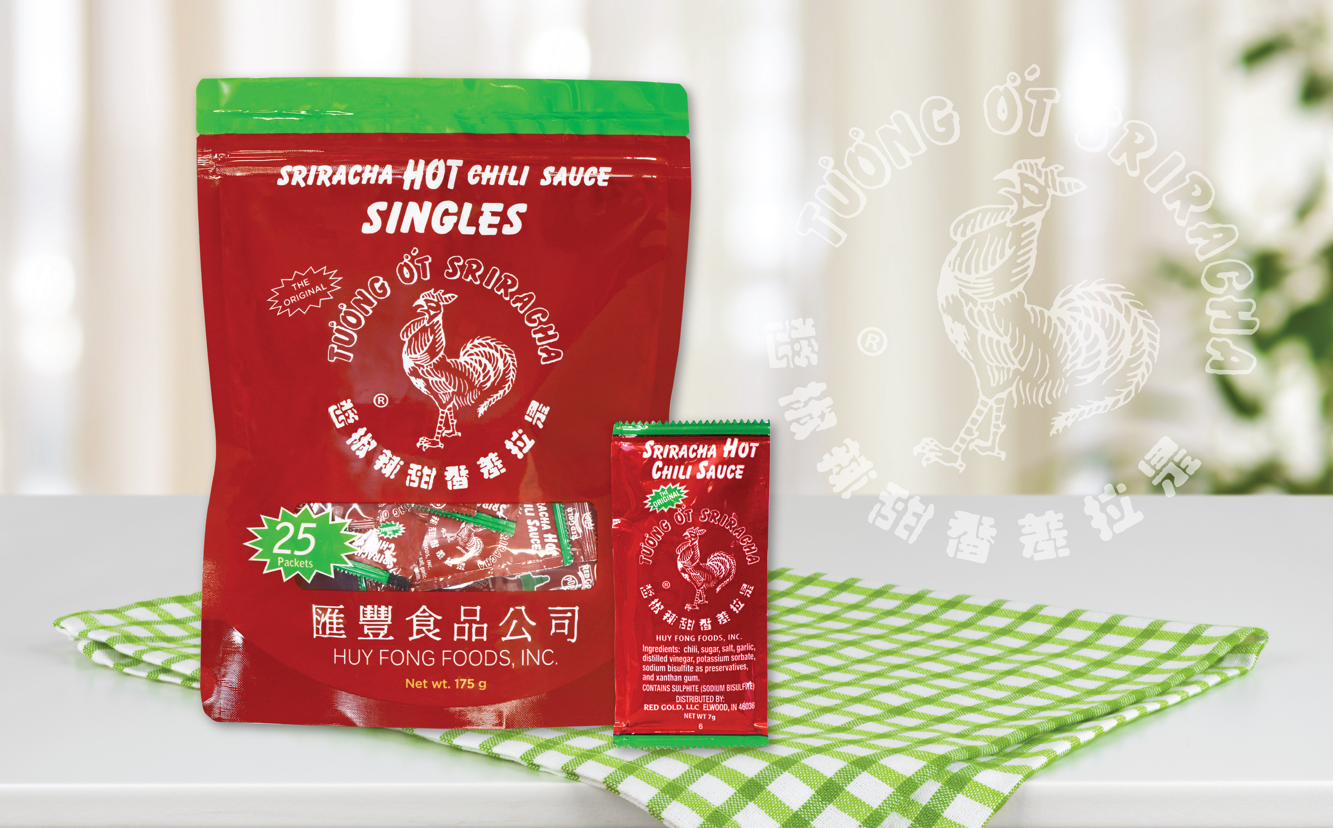 Image of Huy Fong sriracha single packets in pouch